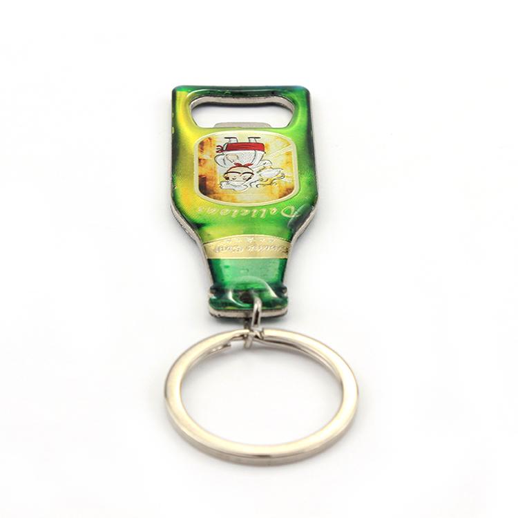 Souvenir Custom bottle shape keychain Beer opener Metal Copper Tourism automatic Gift key chain Bottle Opener