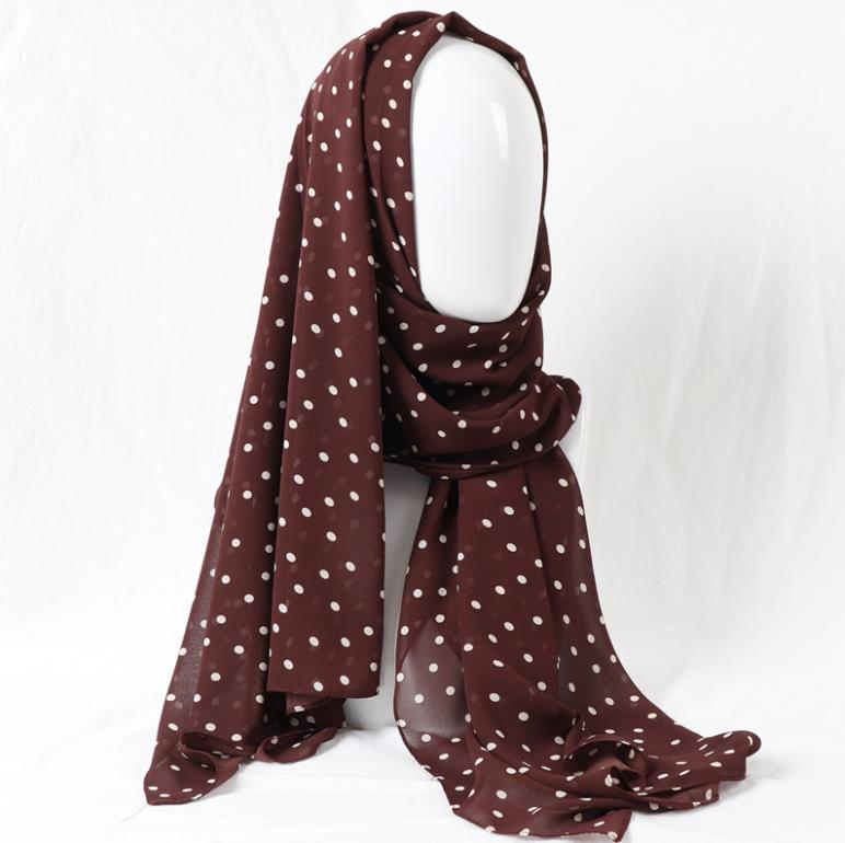 Wholesale New Design Soft Dots Print Chiffon Fashion Muslim Malaysia Hijab <strong>Scarves</strong> For Women