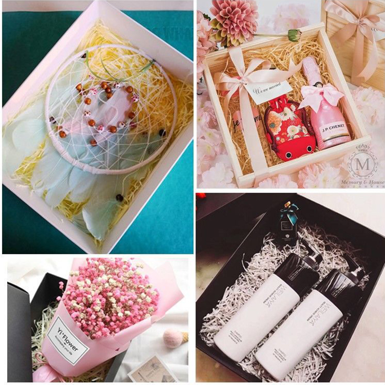Gift Box with Lid Crinkle Cut Paper Shred Filled Decorative Boxes with Lids for Gifts