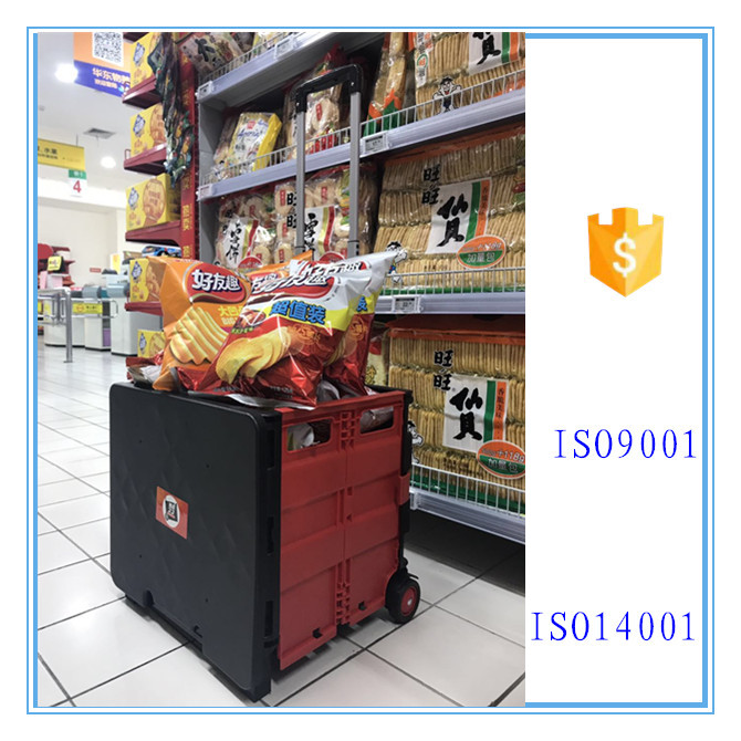 plastic folding crate utility shopping cart