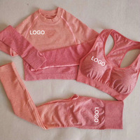 Fitness yoga wear sets ladies gym clothing 3 pieces suits