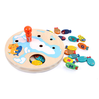 Children wooden magnetic toys pretend play toys wooden fishing game