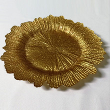 Cheap wholesale fancy reef gold colored glass wedding charger <strong>plates</strong> for restaurant