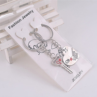 wholesale custom different shape materials metal key chains high quality couples clasp keyrings with logo