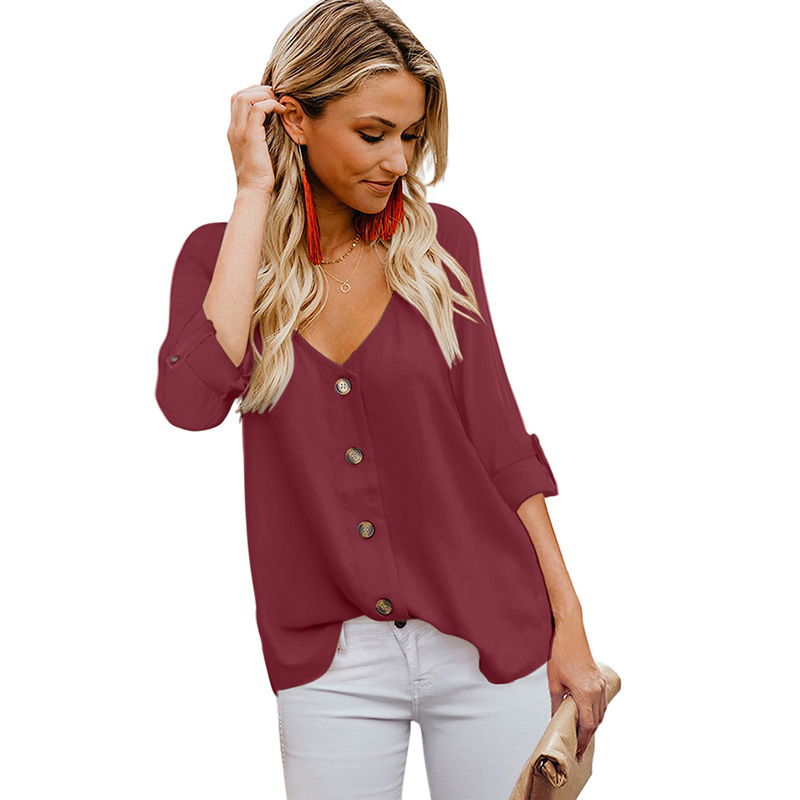 Modern Design Summer Button Detail Roll Up Sleeve Blouse For Women