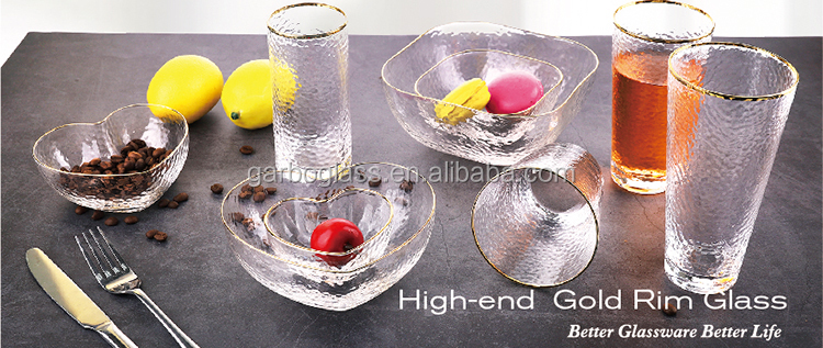 150ml Wholesale Exquisite Small Heat Glass Bowl Gift with Gold Rim