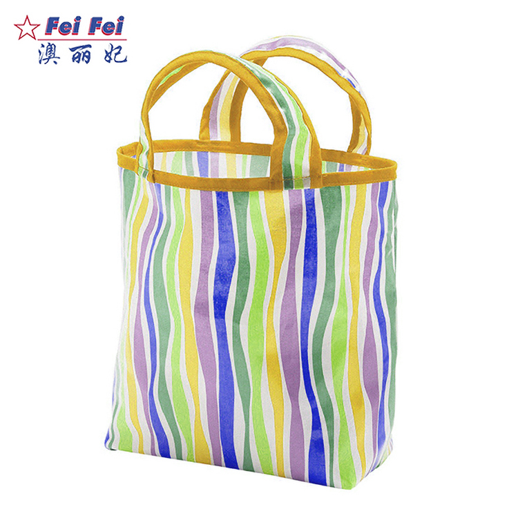 Foldable recyclable polyester RPET handle shopping tote bag