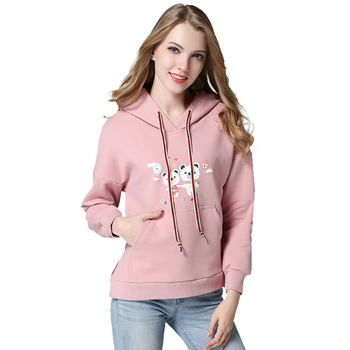 Hot sale women cropped top hoodie pink white hooded sweatshirt hoodies