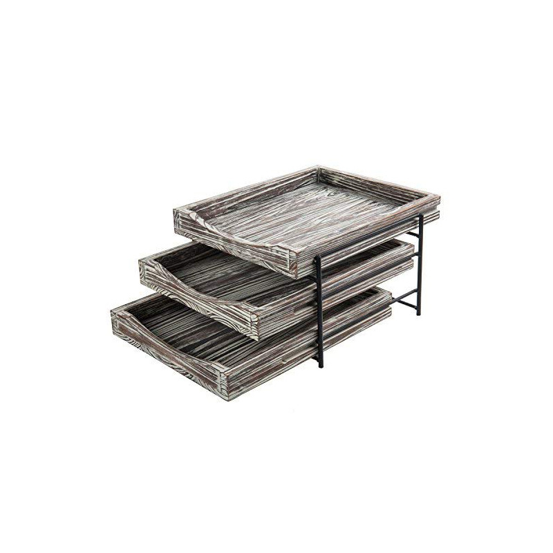 Black Metal Rustic Wooden Tray Standing Home Office Shelf Magazine File Document Box Organizer