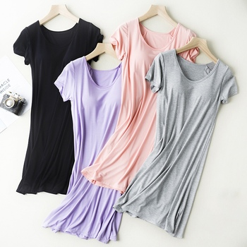 Ladies Nightdress With Chest Pad Vest Comfort Mid-long Pajamas Short Sleeve Nightdress