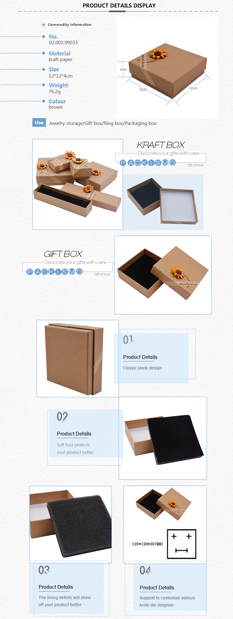 High Quality Necklace Pendant Ring Earring Packaging Gift Kraft Paper Jewelry Packaging Gift Box
