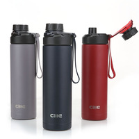 Cille 316 Stainless Steel Water Bottle Double Wall Insulated Vacuum Flask Powder Coated Metal Bottle for Sports New