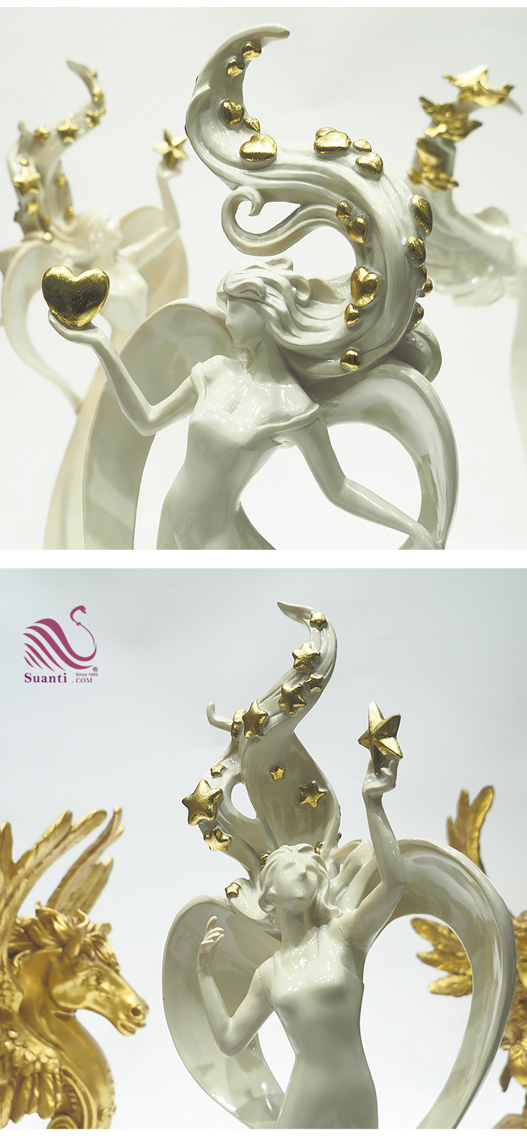 Suanti Custom Indoor Angel Beeldje Hotel Standbeeld Decoratie Sculpturen Home Decor Hars Moderne Kunst Beeldhouwkunst
