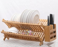 Bamboo Kitchen Folding Dish Rack High Quality Utensils Plate Flatware Holder Set
