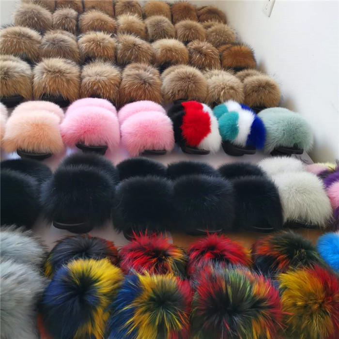 Factory Direct Wholesale cheap fur slides fox fur <strong>slippers</strong> for women fur slide purse set