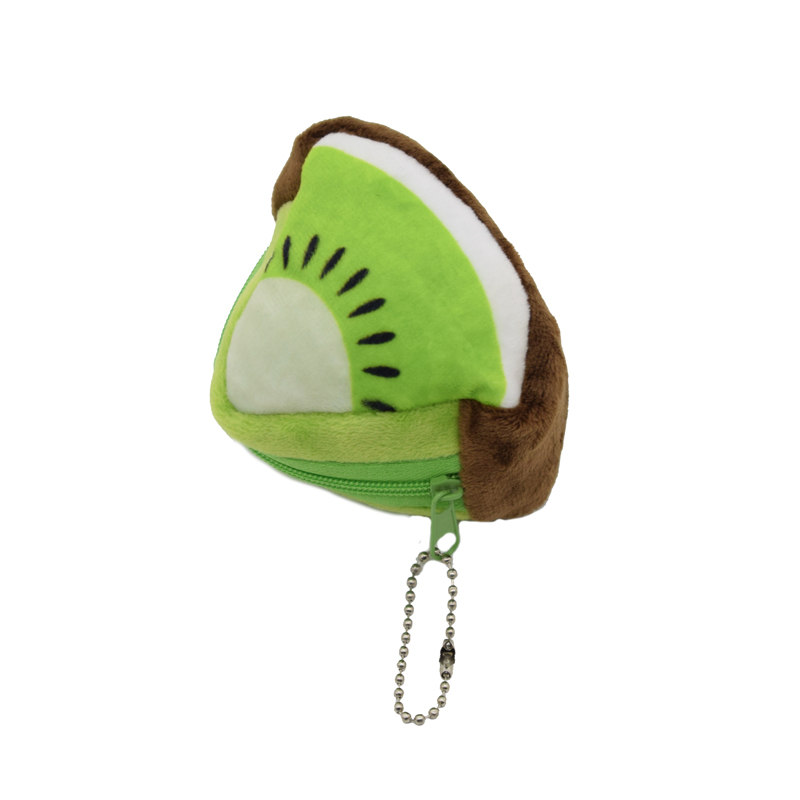 Fruits Coin Bag Triangle Change Purse Key Hook Wallet for Coin Cheap Gift Portable Women Plush Cotton Hand Purse