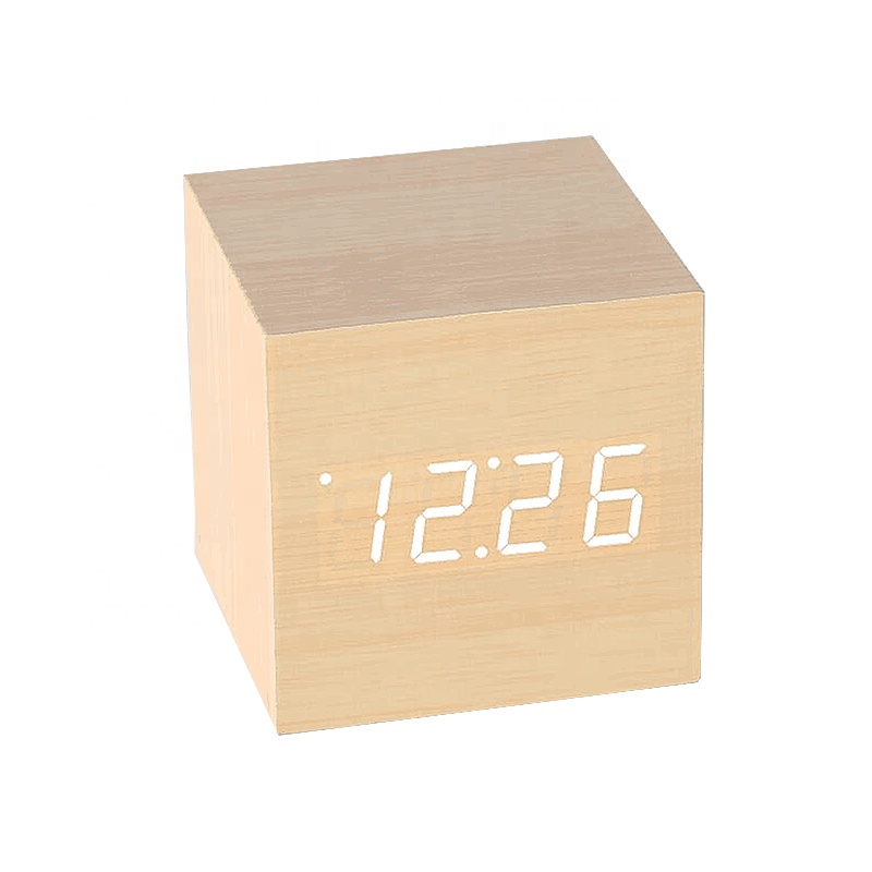 Cube travel portable wooden table digital alarm clock,voice activated clock
