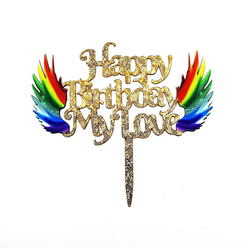 Fashion promotional acrylic cake topper happy birthday glitter sticks birthday cake decoration for birthday