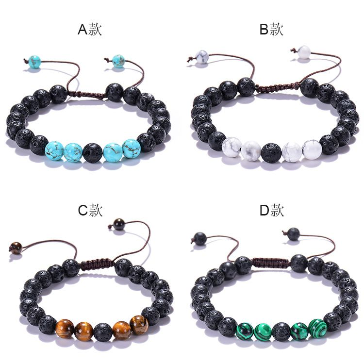2020 Hot Sell 8mm Lava Rock Stone Jewelry Adjustable Woven Bracelet For Essential Oil