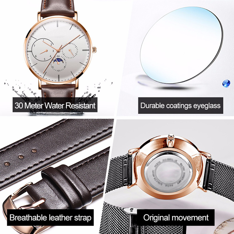 2019 Fashion Watch Custom Logo Multi-function Moon Phase Display Leather Band Watches Men Wrist