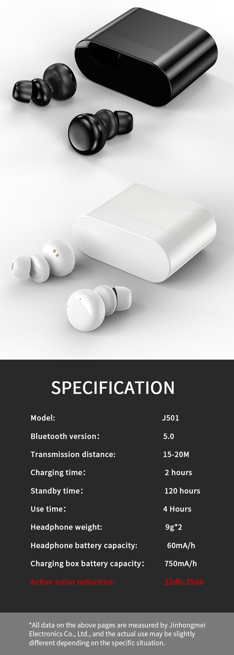 2019 Oem waterproof mini earphones headphones wireless earbuds with ANC