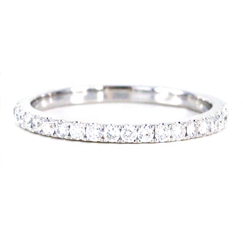 HOT WHOLESALE <strong>H</strong>/SI Real Round Diamond Matching Band Ring in 18k White Solid Gold Half Eternity Band Diamond