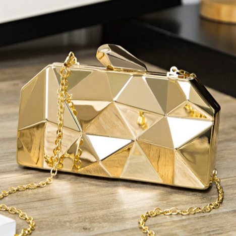 IN21-20 Dinner party metal bag geometrical shape shinning shoulder cross-body party bag with <strong>J</strong>