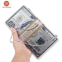 2019 New crystal Money USD Clutch Dollar Design Luxury Diamond Evening Party Clutch Purse From Factory