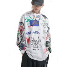 2019 Autumn New Streetwear Printing Wrap Couples <strong>Men's</strong> Long-sleeved Casual Loose T-<strong>shirt</strong>