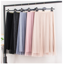 Bright Silk Pleated tulle midi <strong>Skirt</strong> Woman korean fashion <strong>Skirt</strong> Long befree boho <strong>Skirt</strong> womens tutu <strong>skirts</strong>