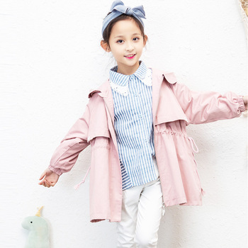 2019 autumn Korean girls windbreaker jacket solid color trend big children's ocean jacket children's jacket
