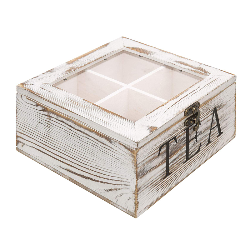 4 compartments Rustic white wood tea time chest tea bag storage chest