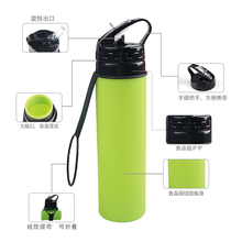 <strong>Roll</strong> up bpa free folding sports silicone collapsible water bottle for Travel Sports and Outdoors