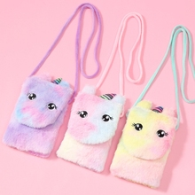 Kids Cartoon Unicorn Shaped Coin Purse Plush Hang Holder Bags Earphone Coin Purse <strong>Wallet</strong>