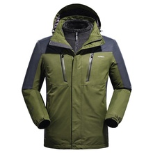 Hot Sell Custom Waterproof Windproof Men Winter <strong>Sports</strong> Army Rain 3 in 1 Outdoor Ski Hiking Travel Jacket With Fleece Liner