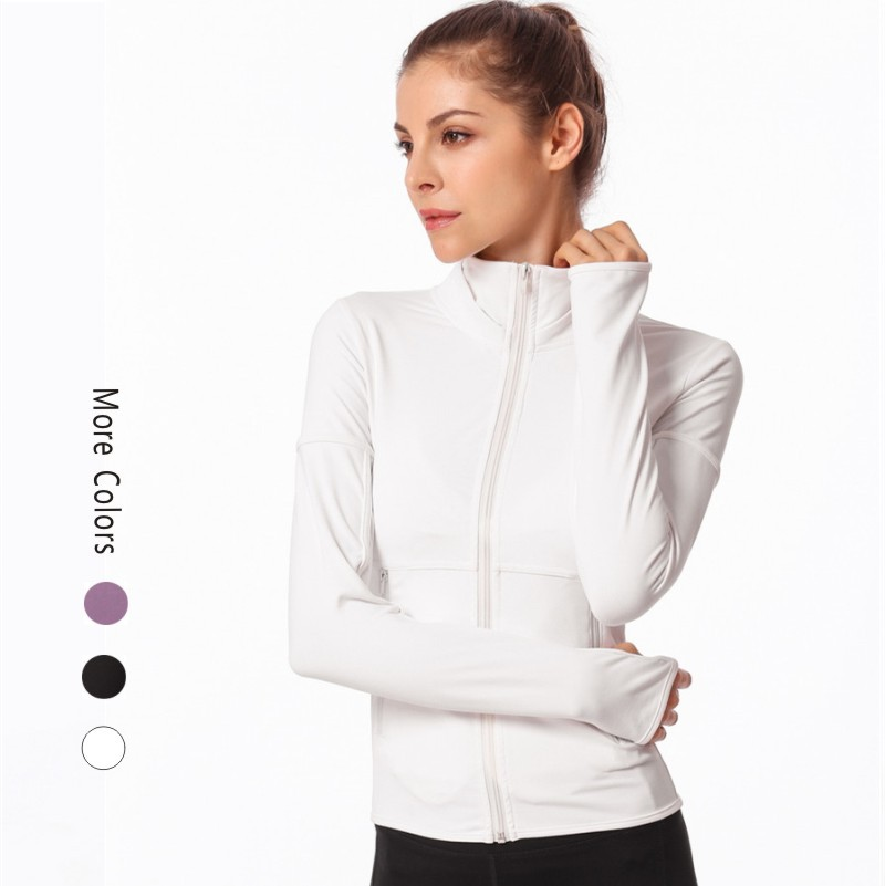 Wholesale womens Sports yoga Jacket Workout Track Jacket with Thumb <strong>Holes</strong>