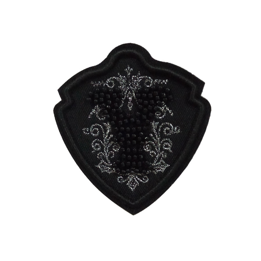 Hot sale good quality black different shape custom embroidered patches