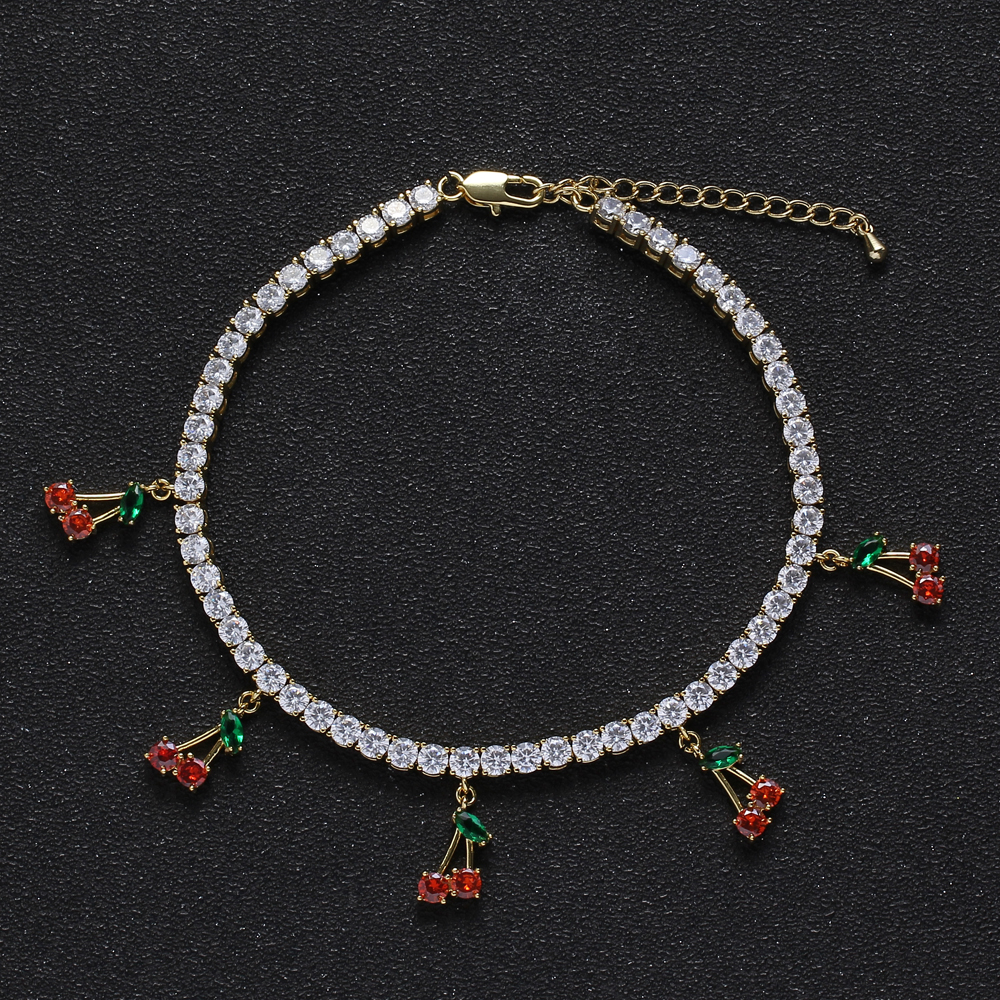 4mm Brass CZ Tennis Anklet with 5 cherry charms with extender chain Iced Out Cubic Zircon Bling Bling for women <strong>A001</strong>