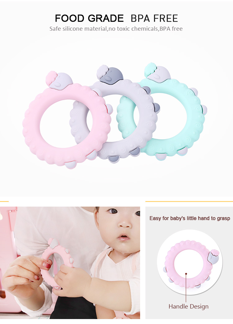 China Manufacturer BPA Free Food Grade Soft Teether Silicone Baby Teether Chew For Baby