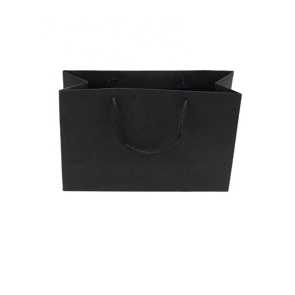 Retail Packaging Gift Regular Sizes Black Paper Bag Rope Handle For Shopping