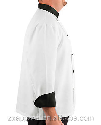 Black contrast stand-up mandarin style collar chef jacket uniform