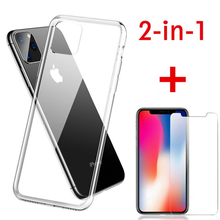 Hot selling in amazon for iPhone 11 pro tempered glass with silicone case for iPhone 11 2019 2 in <strong>1</strong>