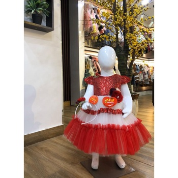 Baby Red Sequence Party Frock For Summer New Summer Collection Of Baby Sequence Frocks