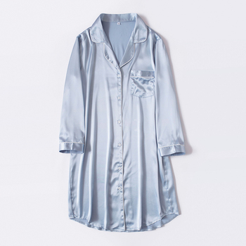 DAILY WEATHER Summer solid color women silk satin shirt Loose Casual Ladies Shirt Pajamas Silk Satin Nightdress