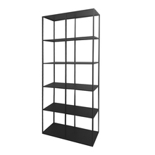 Factory wholesale black KD steel goods <strong>shelf</strong> used for art works sample books display metal office furniture