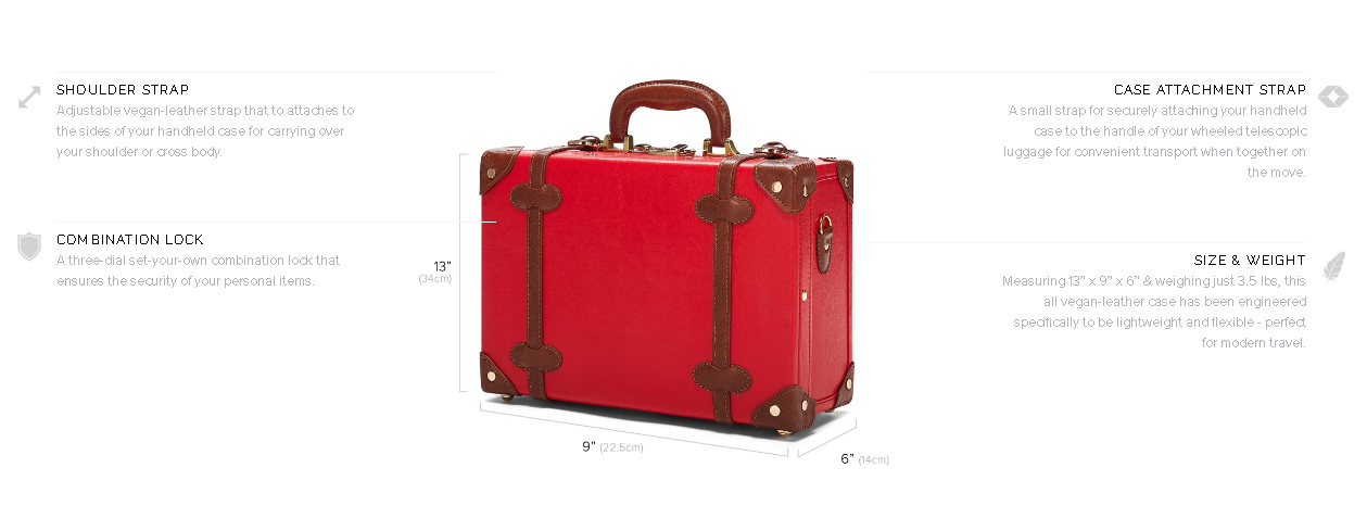 Mens Red Retro Vintage Travel Luxury PU Leather Suitcase Trolley Luggage