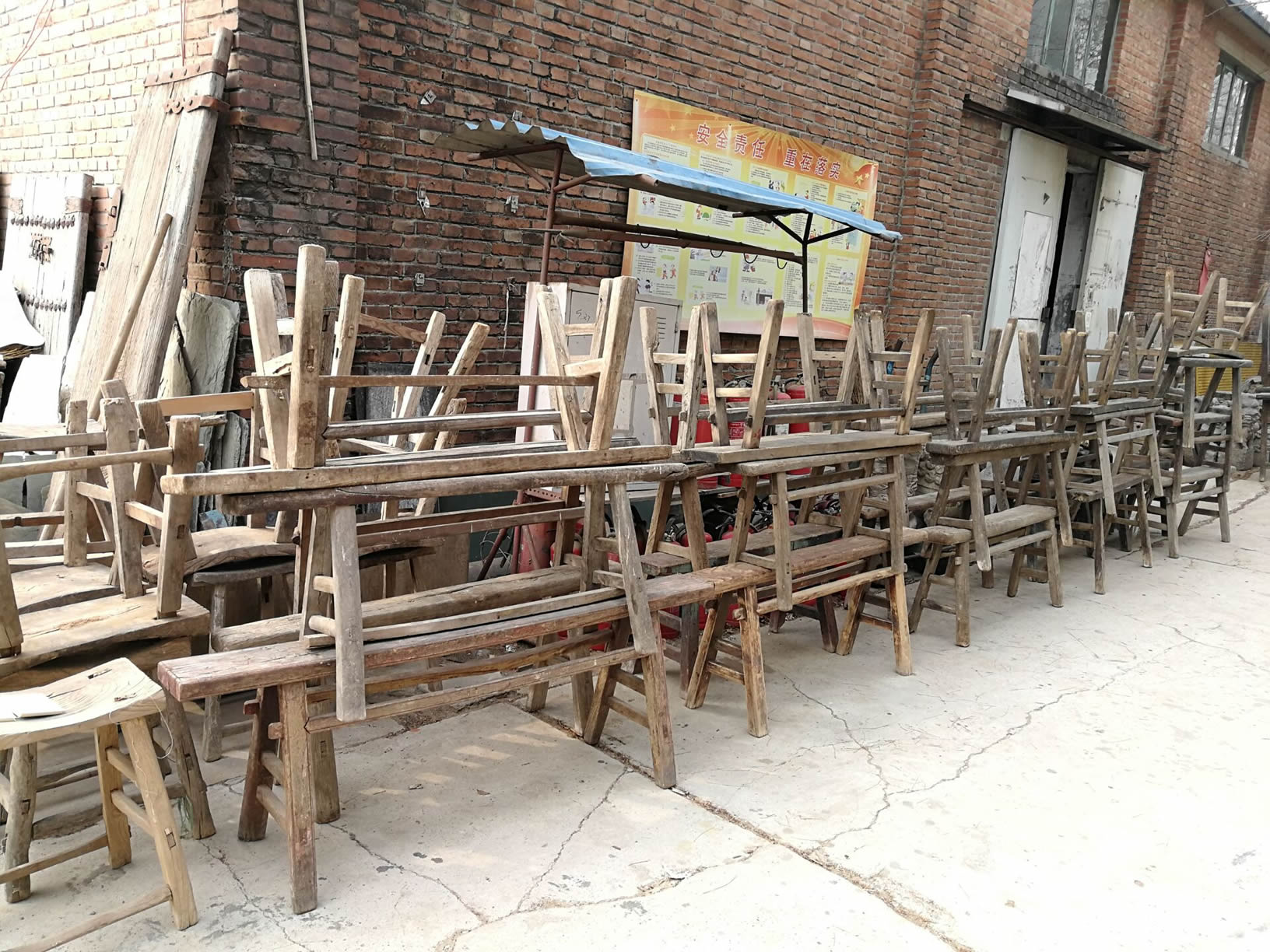 Chinese antique reclaimed wood outdoor bench double recycled elm wood bench