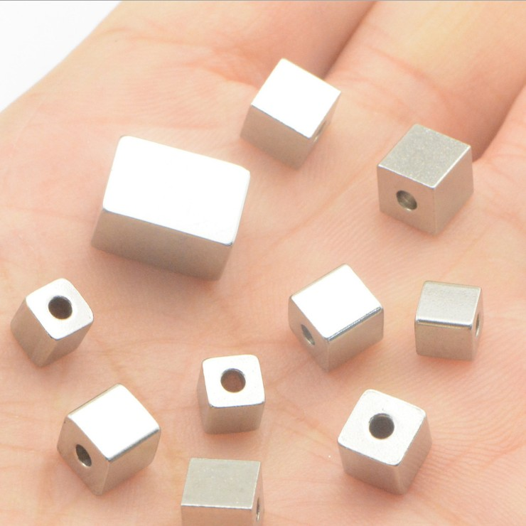 Wholesale through hole block 6mm stainless steel square beads