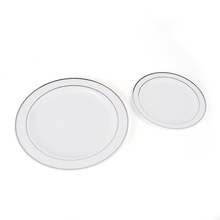 Factory direct cheap round ps plastic dishes disposable silver <strong>plate</strong> 30pcs 7.5&quot; and 30pcs 10.25