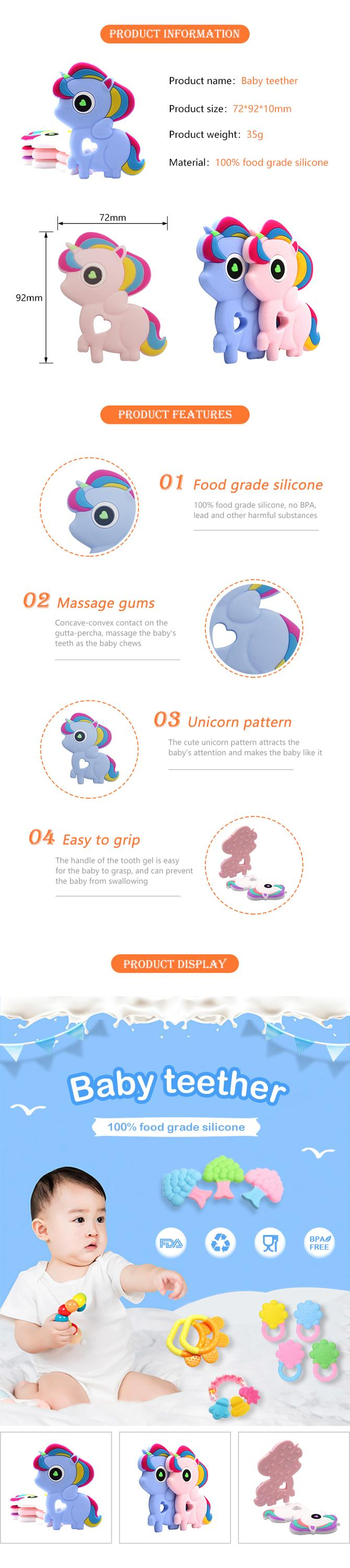 Cute Unicorn Shape Baby Silicone Teething Toy Chewable Soft Infant Teether